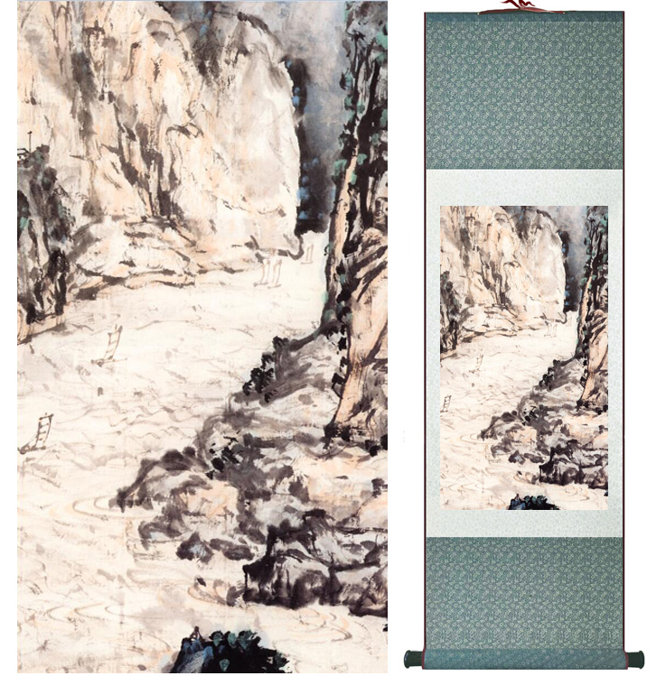 landscape painting Home Office Decoration Chinese scroll painting mountain and River paintingPrinted painting042601