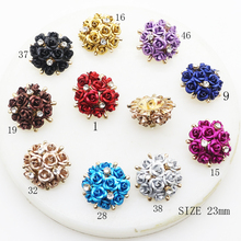ZMASEY New 5Pcs/Lot Fashion 23mm Buttons 10 Color Button Decoration DIY Rose Alloy Shank Beautiful Accessories