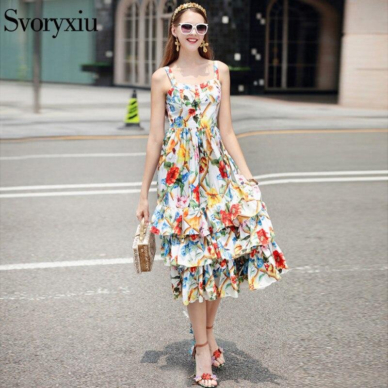 Designer sans manches BOHO robe femmes de haute qualité fleur imprimé Floral en cascade à volants robes d'été