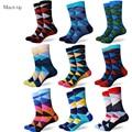 Nuevo estilo colorido del CALCETÍN DE ROMBOS hombres peinado calcetines de algodón marca hombre vestido de calcetines de punto Regalos De Boda Del Envío libre tamaño EE.UU. (7.5-12)