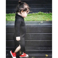 Baby Girls Dress Kids Sweater Dress Knitted Winter Turtleneck Sweater Baby Girl Clothes Black Roupas Pull