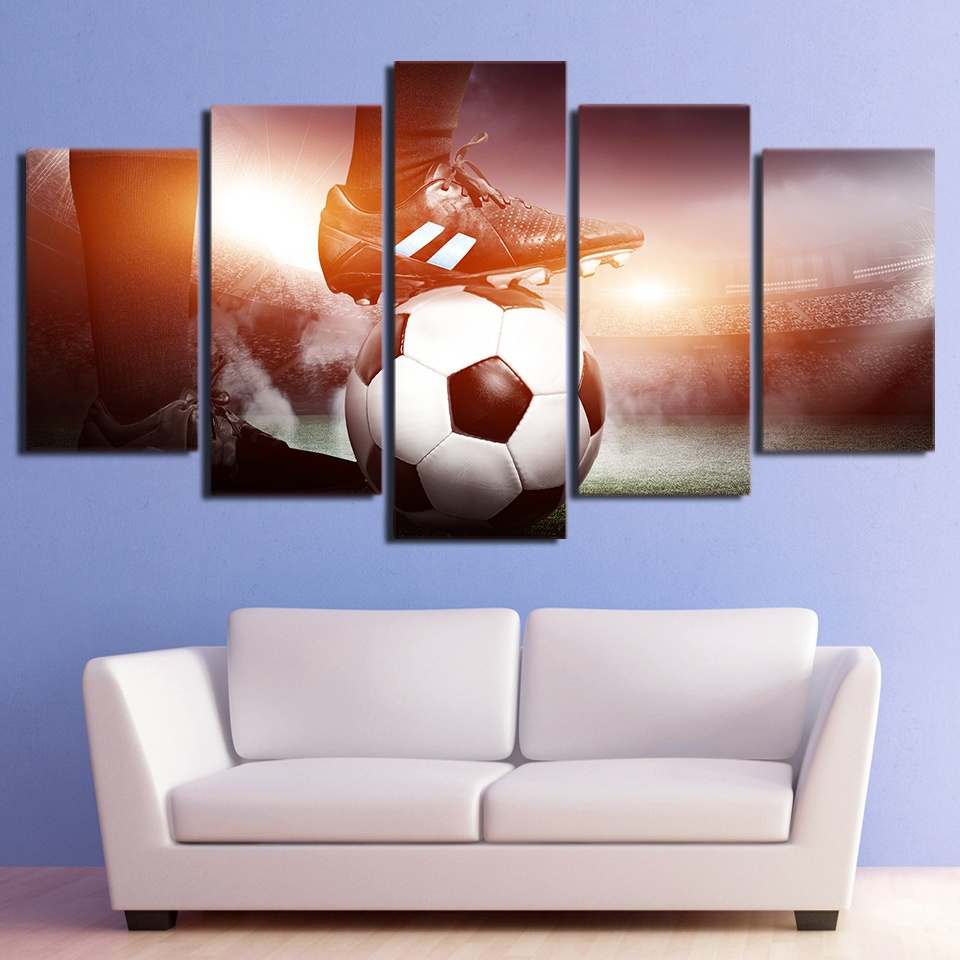 Embelish 5 Pieces Wall Sports Posters For Living Room HD Print Canvas Football Paintings Home Decor Modular Pictures For Bedroom