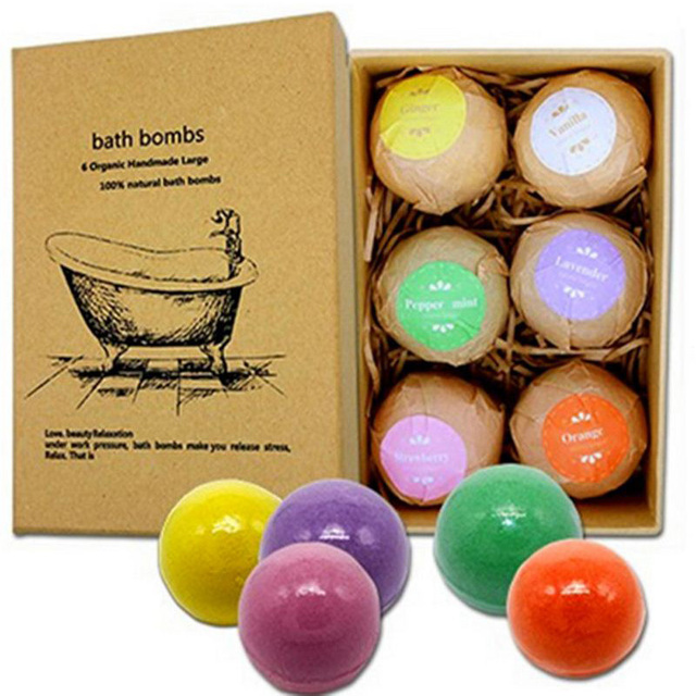 6Pcs Organic Bath Salt Bombs Bubble Salts Ball Oil Sea Salt Handmade SPA Stress Relief Exfoliating Ginger Coconut Oil Flavor 4