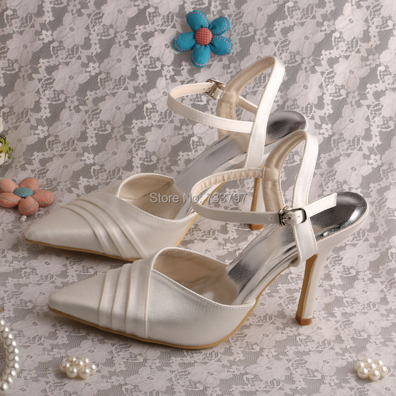 Wedopus Slingback Ivory Satin Pointy Toe High Heel Wedding Party Shoes Custom Handmade