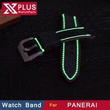 Luminoso cuero genuino correa de reloj 24 mm luces de la noche correa de opción hebilla hechos a mano acolchadas Band pulsera para PAN 44 mm caso