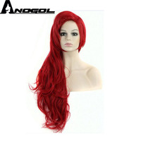 Anogol Princess Long Curly Little Mermaid Ariel wig Red Synthetic Cosplay Hair Wigs For Women Children Costume Halloween Party