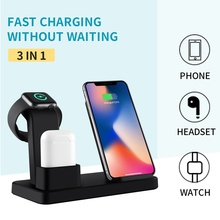 3 IN 1 New 10W Qi Wireless Charger For Iphone X 7 8 Fast Quick Charge Apple Watch 4 2 Cargador Inalambrico Movil