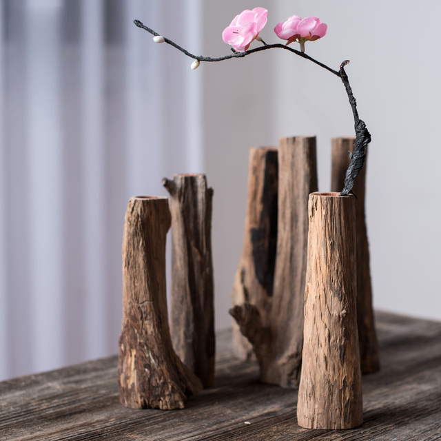 1pcs Creative Wooden Flower Vases Home Kung Fu Tea Set Desktop Art