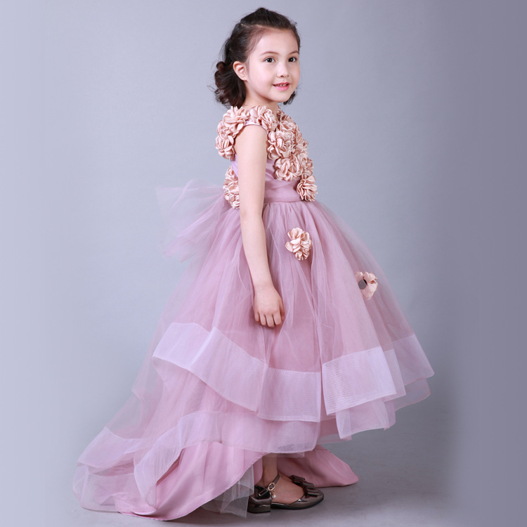 2-11Y Girl New multilayer irregular yarn Tong custom dress Long flowers tail Princess Dresses Party Costume Cosplay Wed Clothes