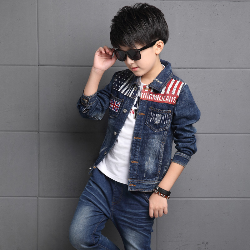 Boys Clothes Spring Autumn Children Clothing Long Sleeve Sport Suit Teenage Boy Set Jeans Outfits+Pant Kids Clothes S30
