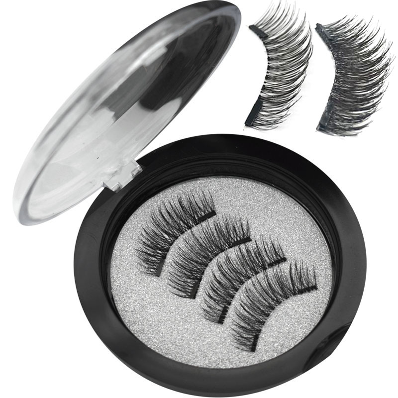 Wqzl Magnetic Eyelashes Double-Magnet-24p Handmade Natural 2-Pairs With Soft 3D