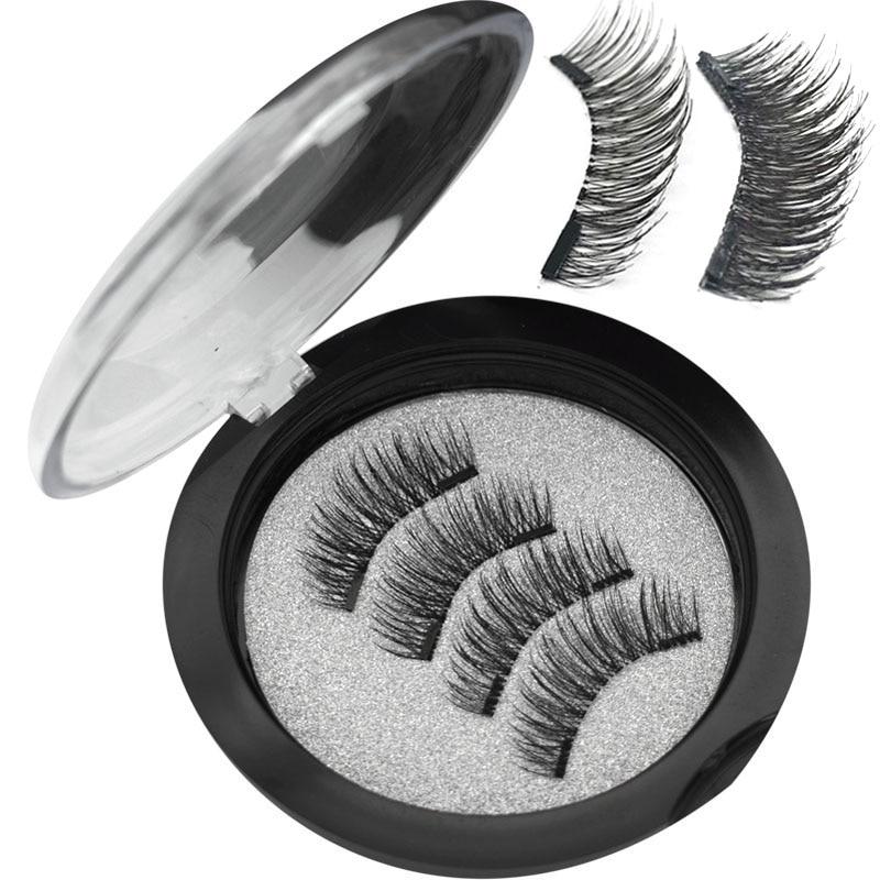 Wqzl 2 Pairs Magnetic Eyelashes With 2 Magnets Soft Lashes Handmade 3D Magnetic Lashes Natural False Eyelashes Double Magnet 24P