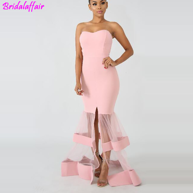 Luxury Floor-Length Full manual Sexy Star dress Evening dress Cocktail dress Tulle Illusion prom Customized Gown Celebrity