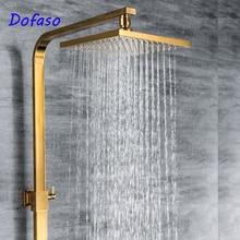 Dofaso gold shower bath tub faucet Golden Brass Shower Faucet Set Dual Ceramic Handle Tub Mixer shower set