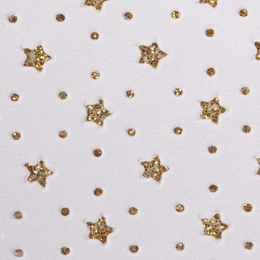 IBOWS 22*30 cm Snythetic skóry z Glitter Stars Dots Faux skóry tkaniny dla DIY kokardy do włosów akcesoria Handmade tkanina na torby