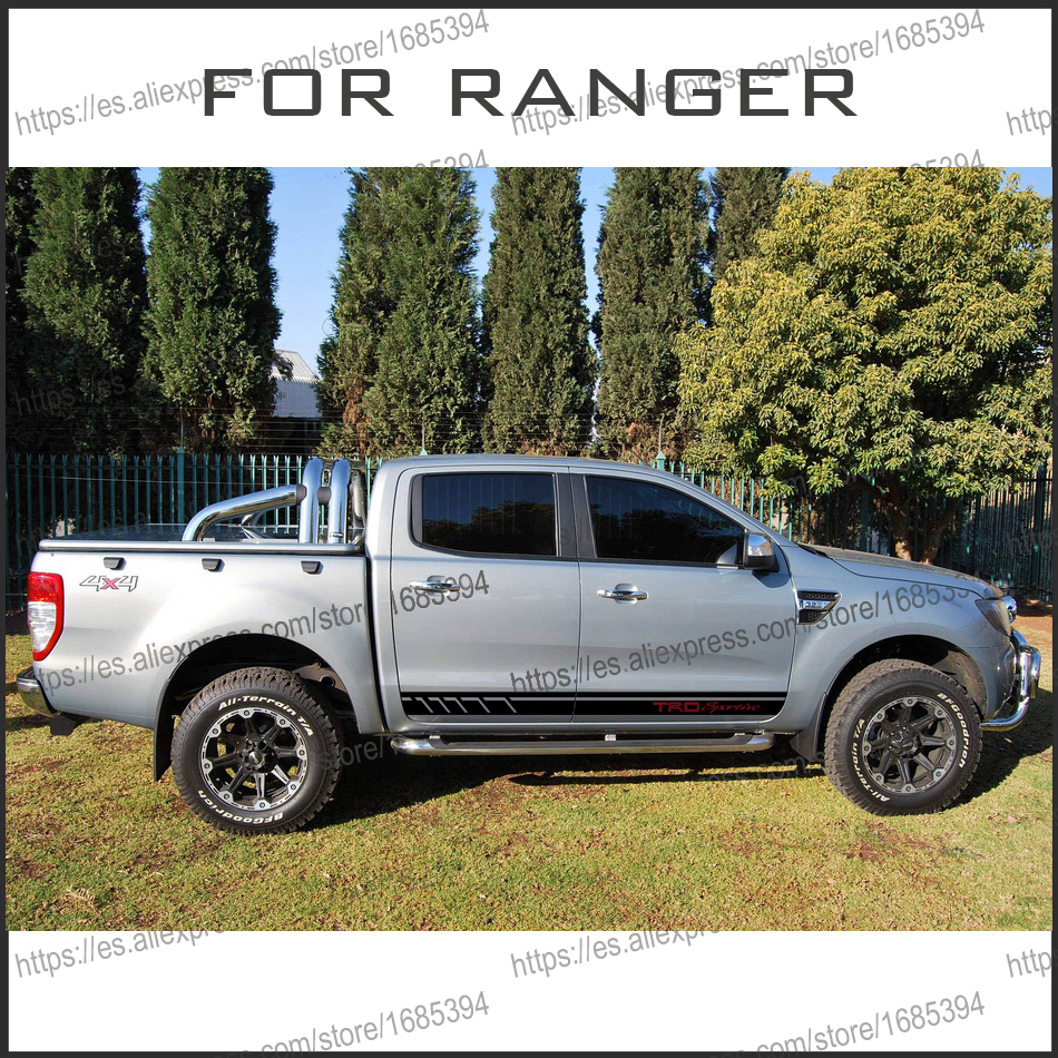free shipping 2 PC racing Gradient side stripe graphic Vinyl sticker for  Ford ranger 2012 2013 2014 2015 2016 sticker 2 pc hilux hilux chequered racing side stripe graphic vinyl sticker for toyota hilux decals