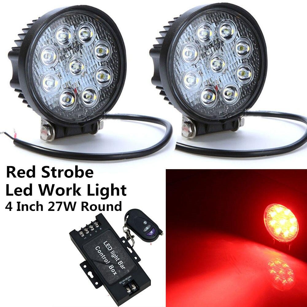 Honzdda 2pcs 4Inch 27W Round Led Work Light 12V Red Spot Led Fog Light by Wire less Remot Strobe Flash Emergency Driving Lights