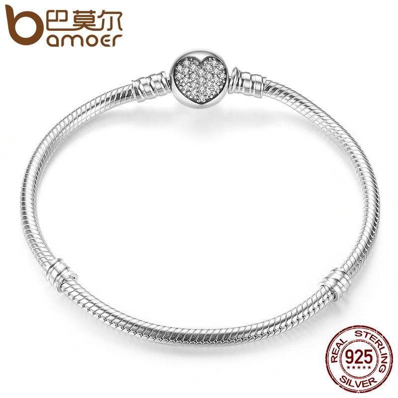 BAMOER Authentique 100% 925 Sterling Argent Classique Serpent Chaîne De Bracelet et Bracelet pour les Femmes Bijoux En Argent Sterling PAS916