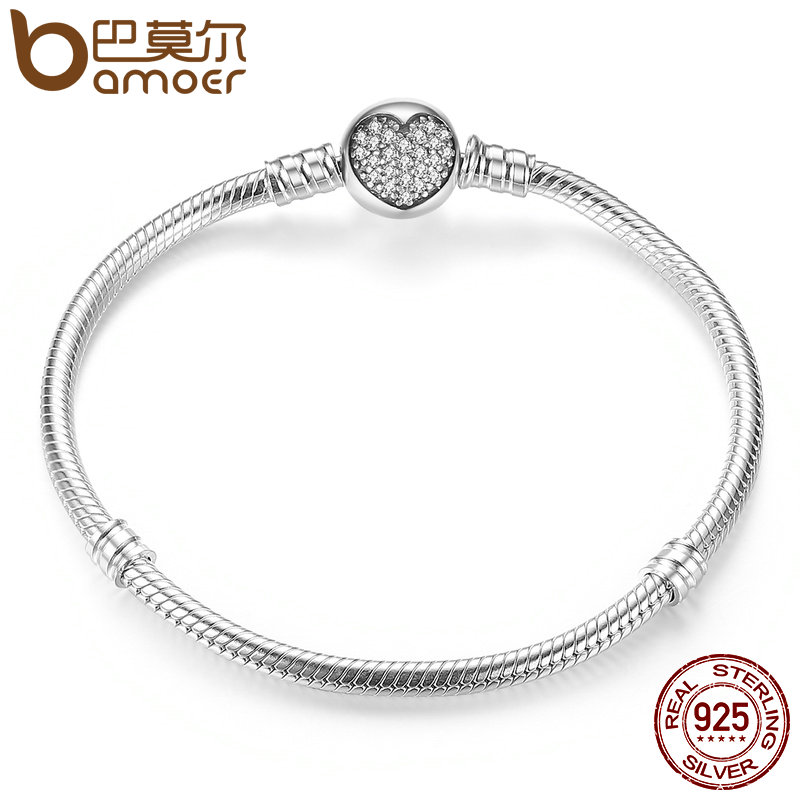 BAMOER Authentic 100% 925 Sterling Silver Classic Snake Chain Bangle & Bracelet for Women Sterling Silver Jewelry PAS916 bamoer 925 sterling silver