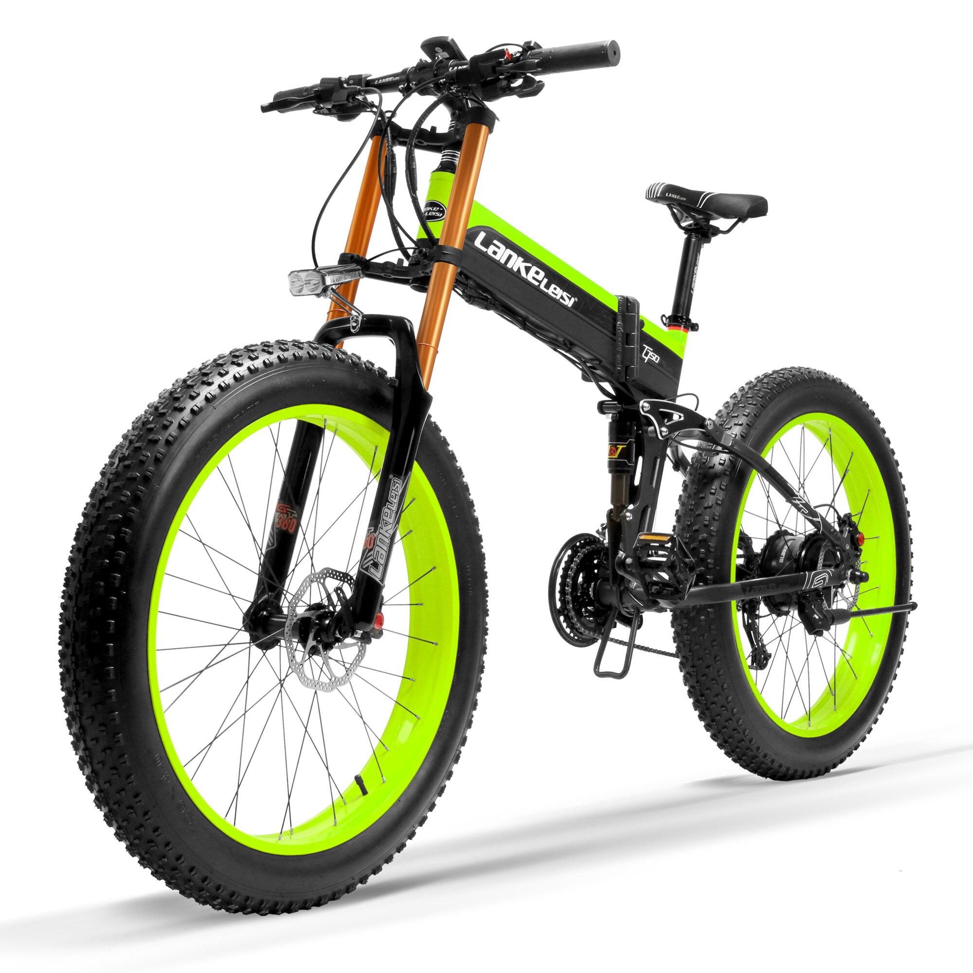 T750Plus vélo à neige électrique à capteur d'assistance à la pédale à 5 niveaux, amélioré à la fourche de descente, moteur puissant, batterie Li-ion haute Performance