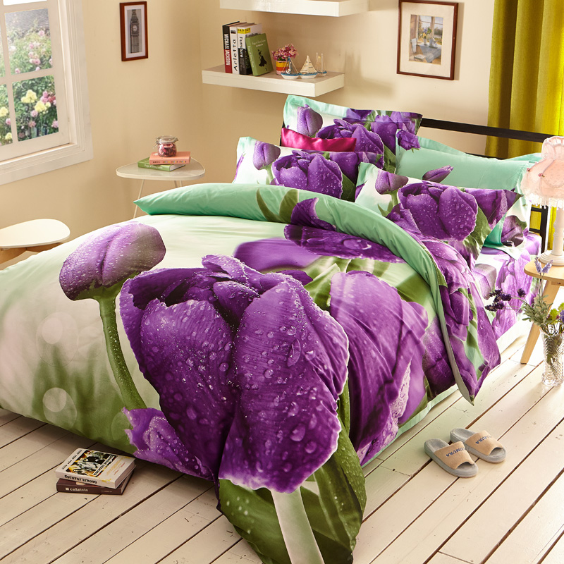 Beautiful Modern 3D Purple Floral Tulip Cotton Bedding Sets Queen Size U0026 King Size  Duvet Cover Flowered Girls Bed Linens Bed In A Bag 4pcs In Bedding Sets  From Home ...
