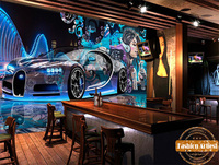Custom cool automobile wallpaper mural sport car graffiti music girl night club ktv sofa bedroom living room cafe bar restaurant