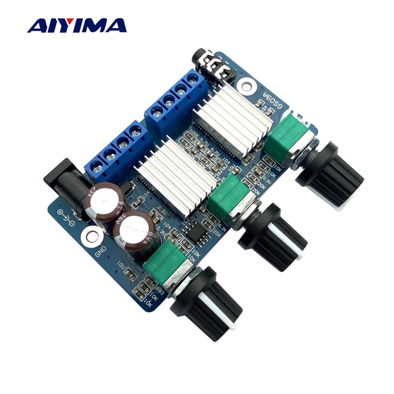 Aiyima DC12V 2.1 Channel Subwoofer Audio Amplifier Board 12W*2+22W Class D Digital Amplifier Board Super TDA2030A aiyima hi fi pam8610 audio amplifier board 15w 2 class d dual channel digital amplifier board dc12v