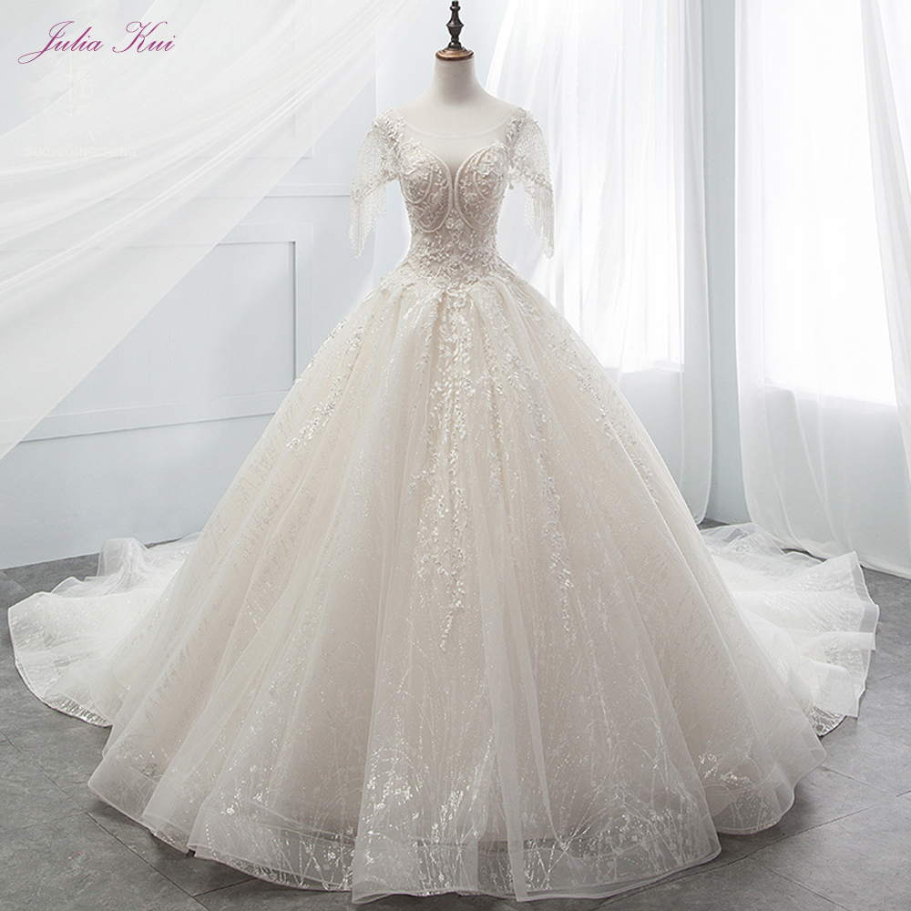 Julia Kui Vintage Bling Scalloped-Neckline Ball Gown Wedding Dresses  With Cap Sleeves Delicate Wdding Gown