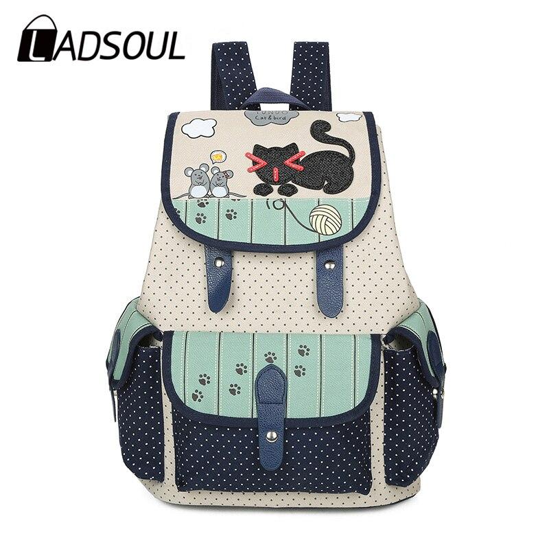 2018 hot sale Cute Cat Printing Backpack Women Canvas Backpack School Bags For Teenagers Girls Casual Cute Rucksack Bookbags недорго, оригинальная цена