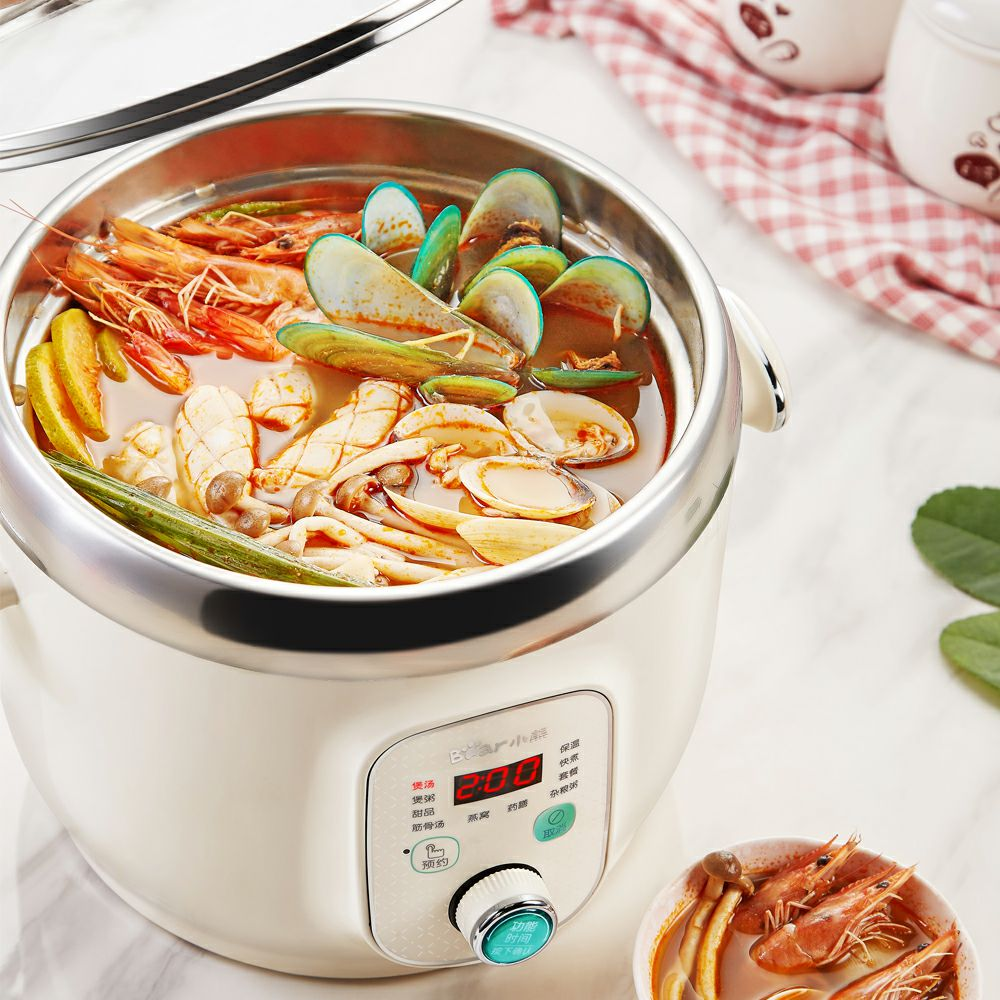 220V Bear Electric Automatic Stewing Pot Machine Multifunctional Porridge Soup Stewing Machine Stainless Steel Inner EU/AU/UK 220v household electric slow stewing pot machine baby porridge food maker automatic ceramic inner stewing cooker eu au uk