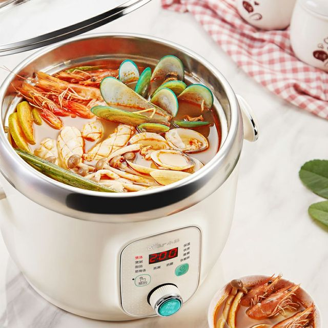 220V Bear Electric Automatic Stewing Pot Machine Multifunctional Porridge Soup Stewing Machine Stainless Steel Inner EU/AU/UK