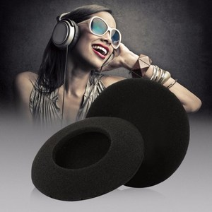 Image 2 - 4 pièces oreillettes en mousse souple noire couvre oreillettes bouchon de remplacement casque casque étui de protection diamètre 70mm