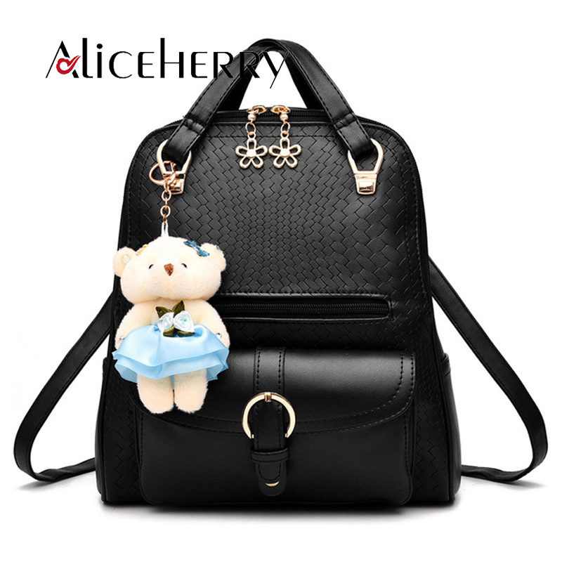 New 2017 high quality brand design school backpack fashion women backpack PU leather small bear gril backpack ...