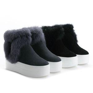 Image 2 - SWYIVYของแท้หนังผู้หญิงฤดูหนาวWarm Rabbit Furรองเท้าผ้าใบหิมะรองเท้าผู้หญิง2019รองเท้าบู๊ทข้อเท้าหญิงCausalรองเท้า