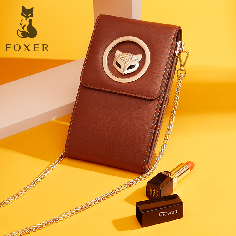 FOXER Brand Women Crossbody Bag Female Leather Shoulder Bag Fashion Messenger Bags with Cell Phone Pocket for Women Birthday foxer brand 2018 women leather crossbody bag