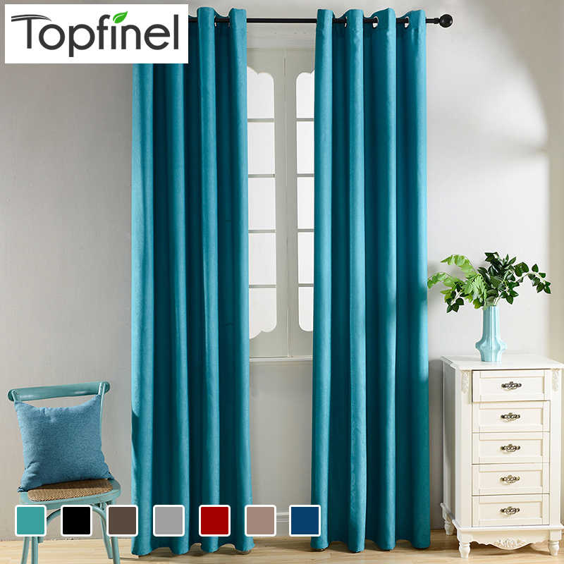 Topfinel Solid Blackout Curtains for Kitchen Living Room Bedroom Velvet Fabric for Curtains for Window Treatments Curtains Drape