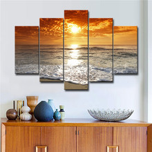 Printed HD Modern 5 Pieces Panel Printing Wall Art Canvas of Sunrise Clouds Seascape