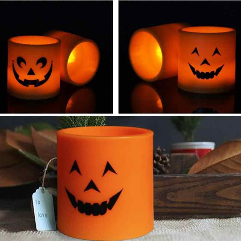2 шт пластиковый тыквенный светодиодный светильник для свечи декоративный желтый свет для Хэллоуина Вечерние