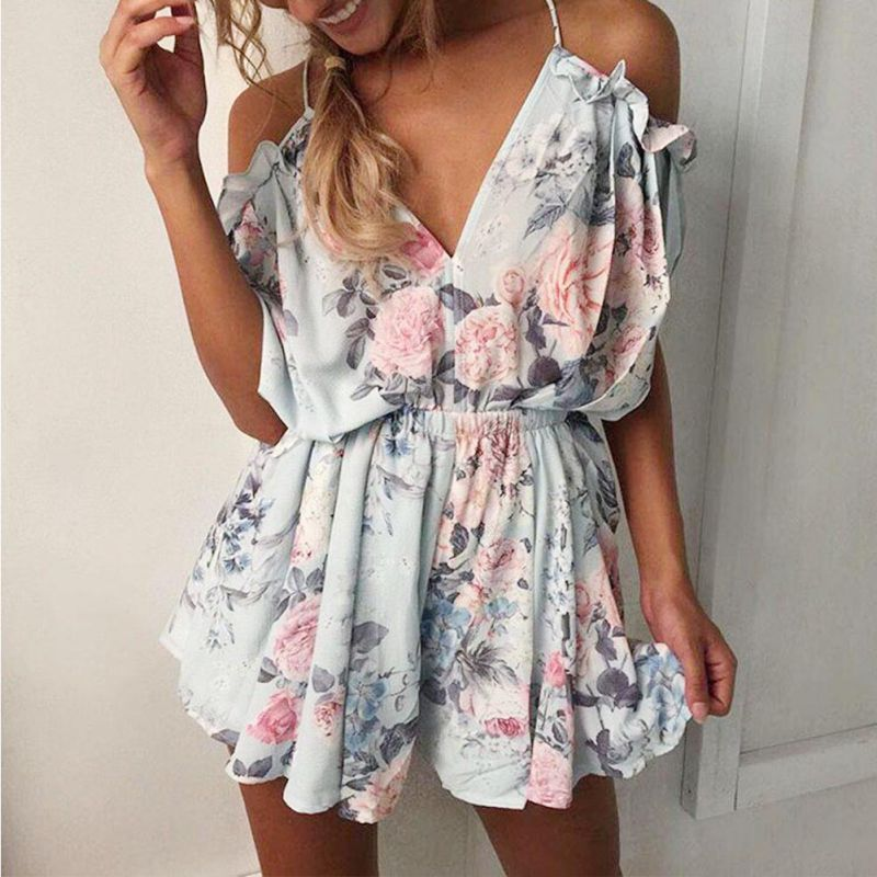 floral V-Neck   jumpsuit   women romper summer backless bandage loose   jumpsuit   lady shorts beach lace up female overall