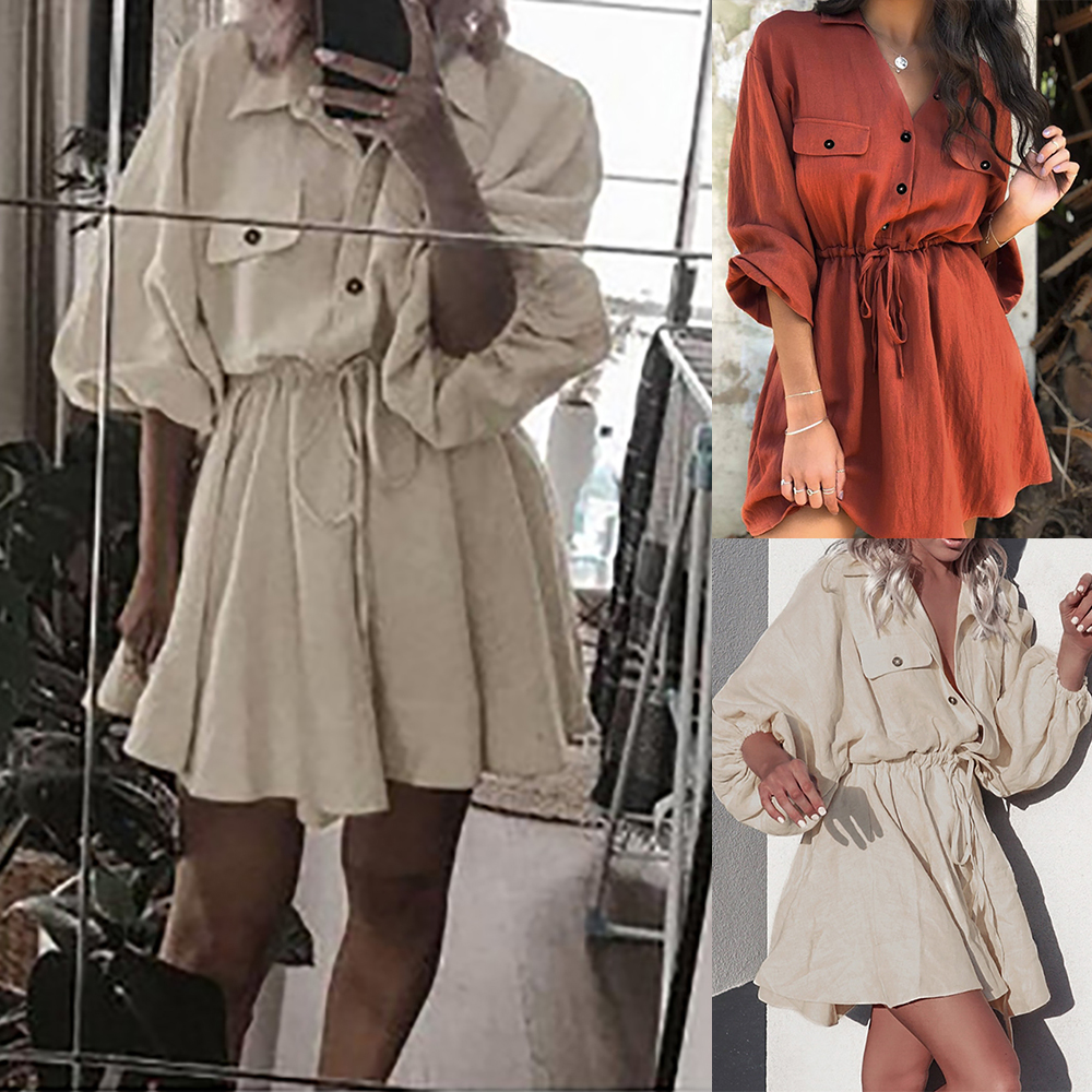 SHUJIN 2019 Hot Vintage Women Classic Shirt Dress Fashion Lantern Sleeve Short Dress  Lace Up Belt Cotton Linen Dress Vestidos