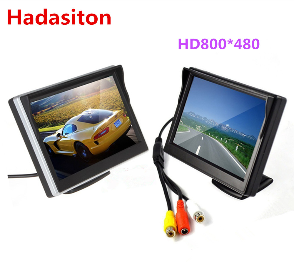"Free shipping 5"" TFT LCD screen Car Monitor HD800*480 Car Reversing Parking Monitor with 2 video input,Rearview camera optional(China)"