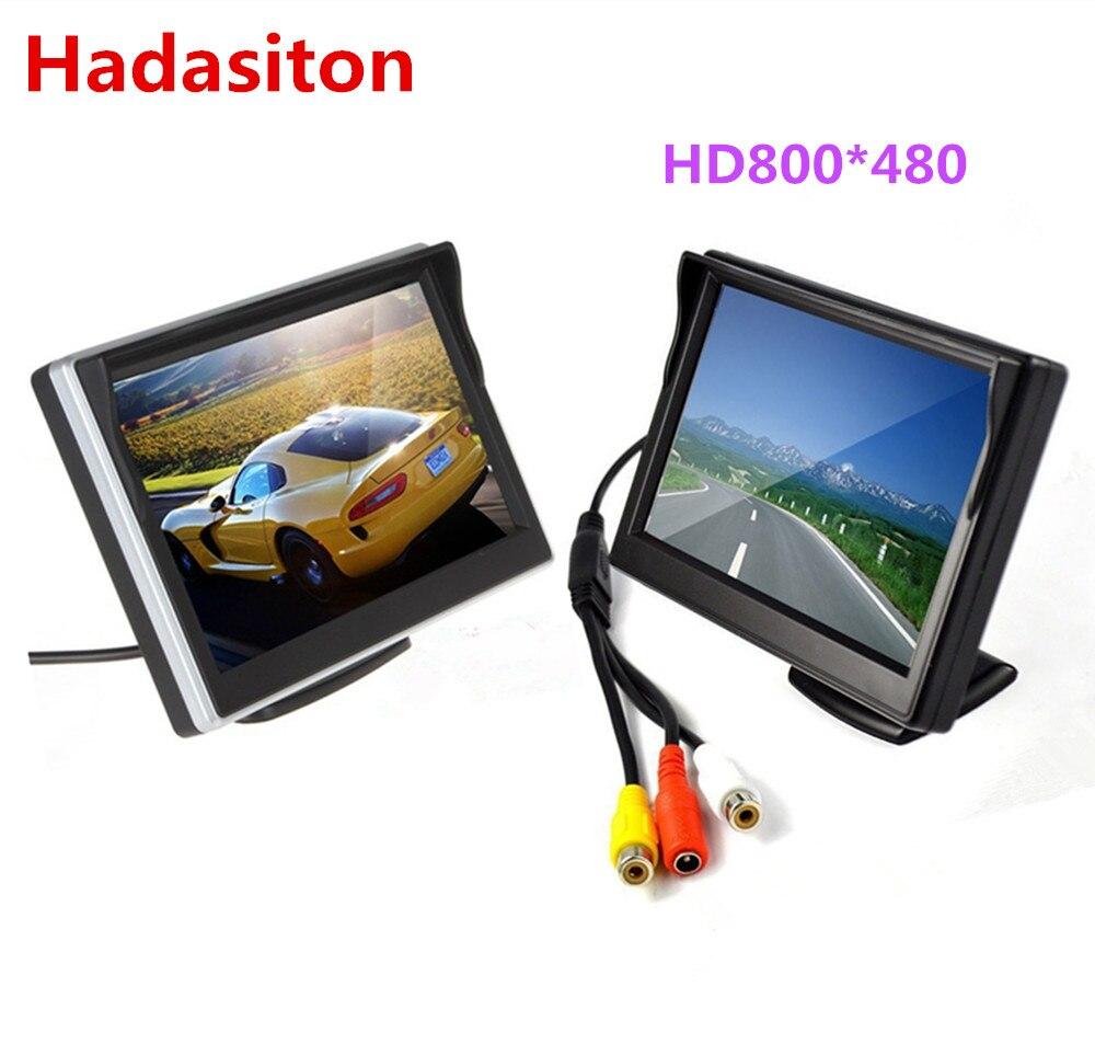 """O envio gratuito de 5 """"tela tft lcd monitor do carro hd800 * 480 carro invertendo estacionamento monitor com 2 entrada de vídeo, câmera retrovisor opcional"""