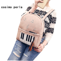 Pink Leather Women Piano Backpack Bag Embroidery Music Note Violin Rucksack for Teenage Girls Fashion Sac a dos Female Bookbag