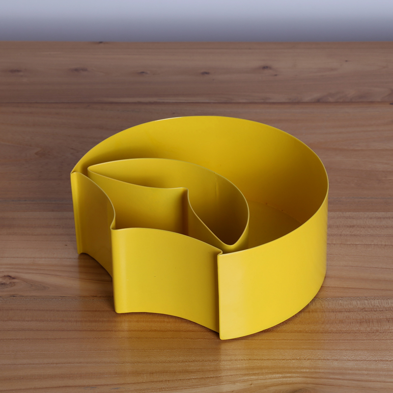 Hot Selling Unique Design Macaroon Yellow Storage Box for Sundries Modern Metal Tabletop Organizer Home Decor Accessories