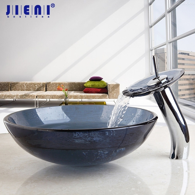 US Bathroom Modern Tansparent Artistic Glass Vessel Sink Faucet U0026 Pop Up  Drain Combo Artistic Glass