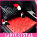 Ladycrystal High Quality PU Leather Women Fashion Obsidian Headrest Waist Lumbar Pillows Back Supports Car Accessories Flowers