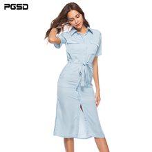 PGSD Summer Office lady Elegant solid pocket Bandage Short sleeve Forked Long shirt dress female Simple Fashion Women Clothes