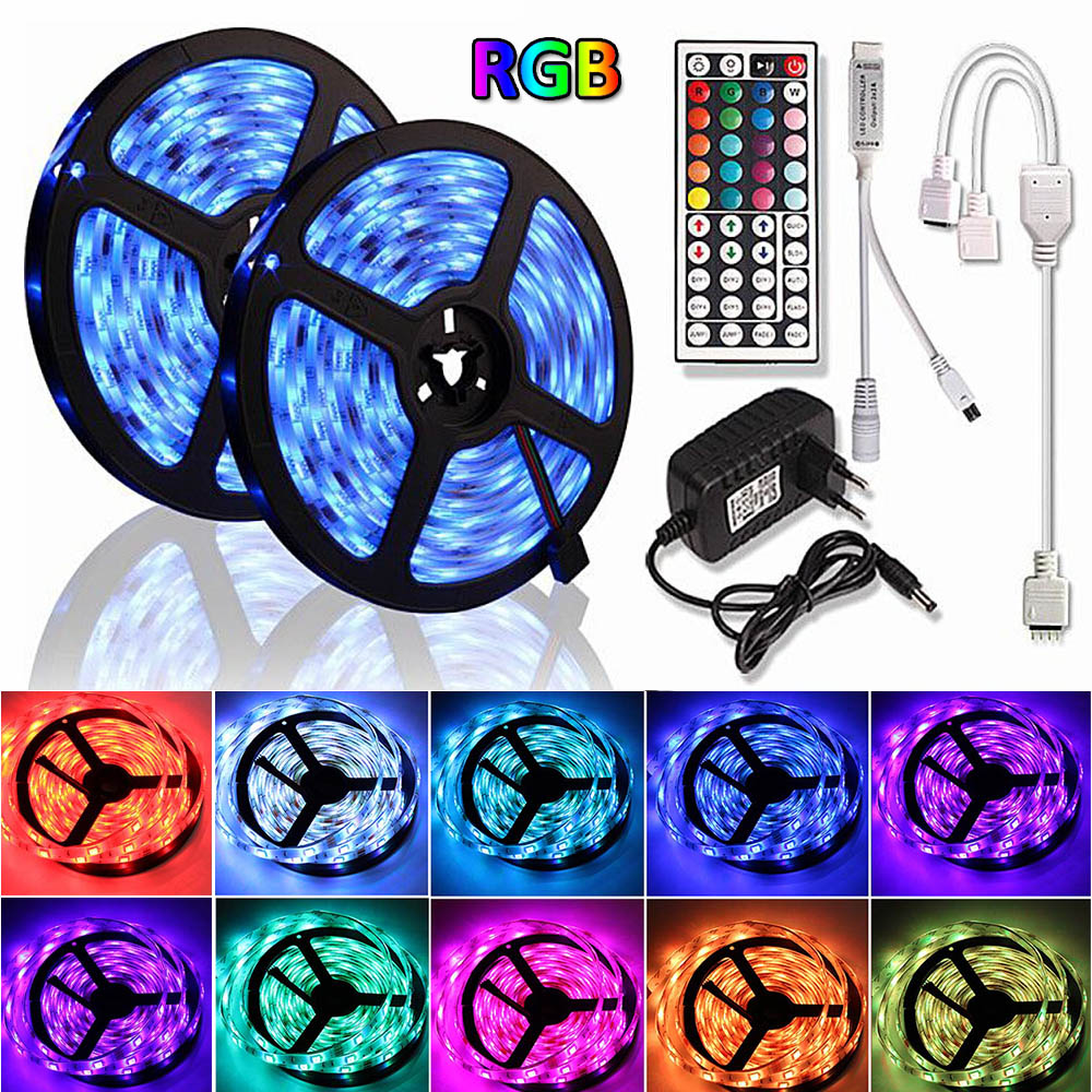 15M LED RGB Lamps 5M 10M Kitchen Cabinet LED Lights For Home Colset Decoration Lighting Waterproof 5050 2835 12V Strip Light RGB