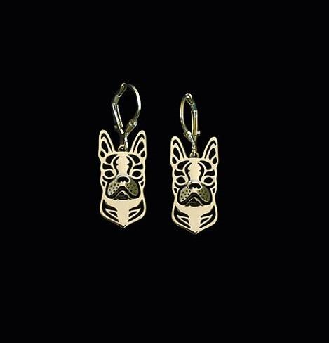 Купить бостонская серьга с изображением терьера позолоченные мини серьги