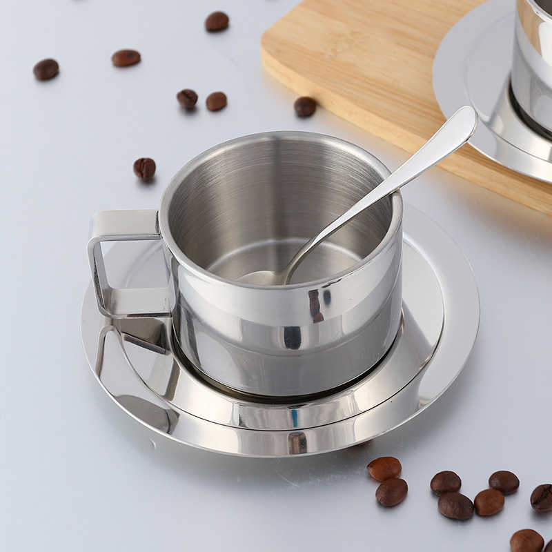 Stainless Steel Tea Coffee Mug Cups Double Wall Insulated Coffee Tea Cup with Saucer Spoon Set for Coffee Tea Milk Home Kitchen